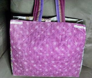 Bag back cross hatch quilted