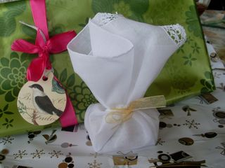 Linen handkerchief with some pretty hand soaps
