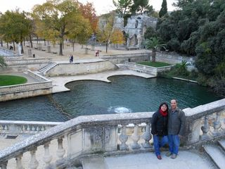 Us at the jardin de la fontaine in Nimes