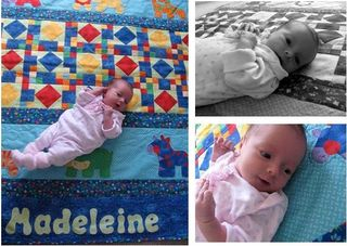 Madeleine on her quilt