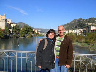 On the bridge in vettimiglia in Italy