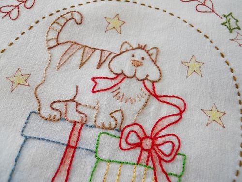 Xmas stitching on mums hankie (3)