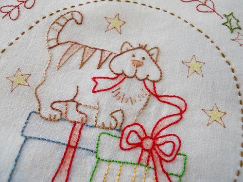 Xmas stitching on mums hankie (3)